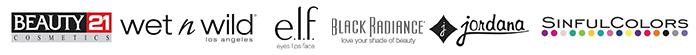 Beauty 21, Wet N Wild, Elf, Black Radiance, Jordana, Sinful Colors Logos